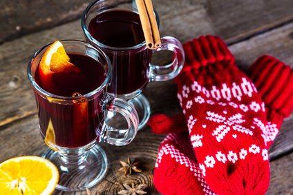 Mulled wine on a wooden table
